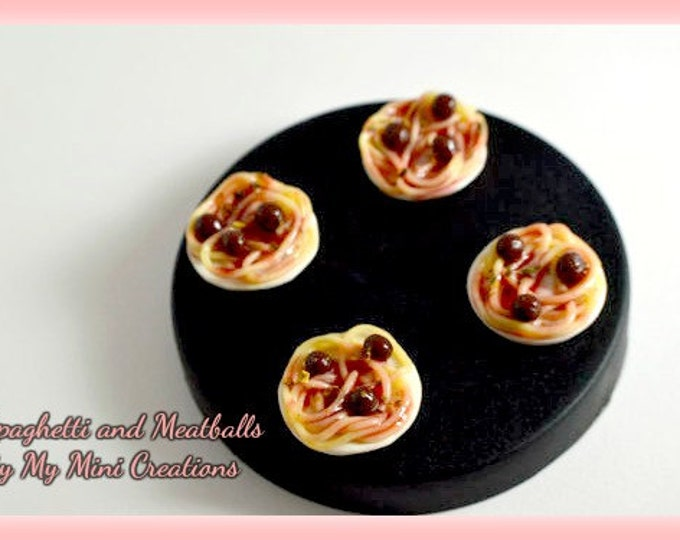 Spaghetti and Meatballs Plate Sets, Miniature Food, Miniature Food Jewelry, Food Jewelry
