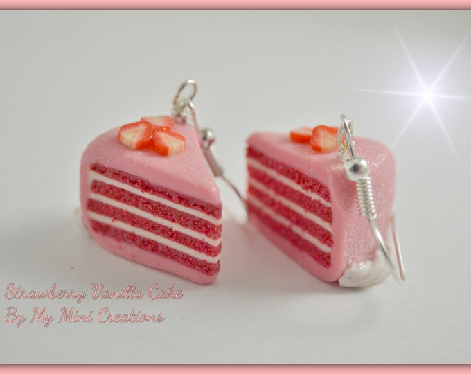 Food jewelry, Strawberry Cake with Vanilla Filling Earrings , Miniature Food Jewelry,  Miniature Food,