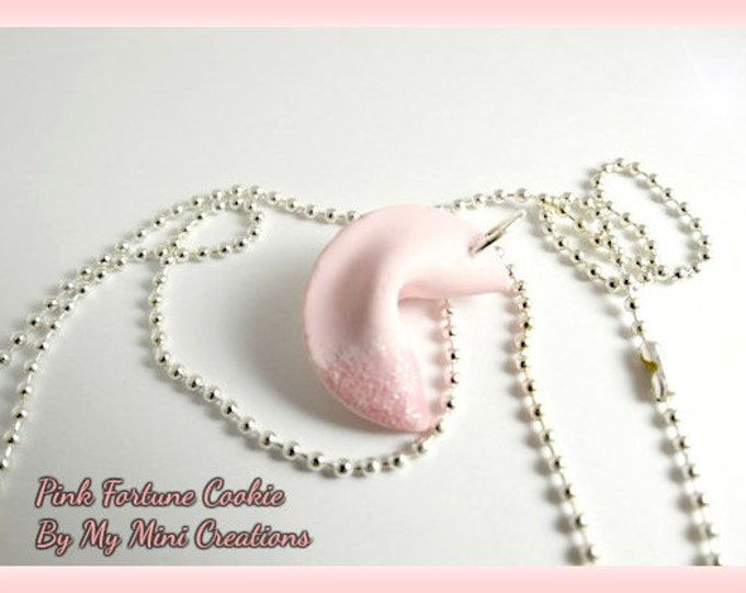 Pink Fortune Cookie Necklace, Miniature food, Miniature Food Jewelry, Food Jewelry