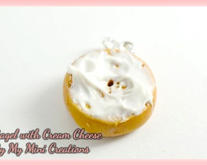 Cream Cheese Bagel charm, Polymer Clay, Miniature Food, Miniature Food Jewelry