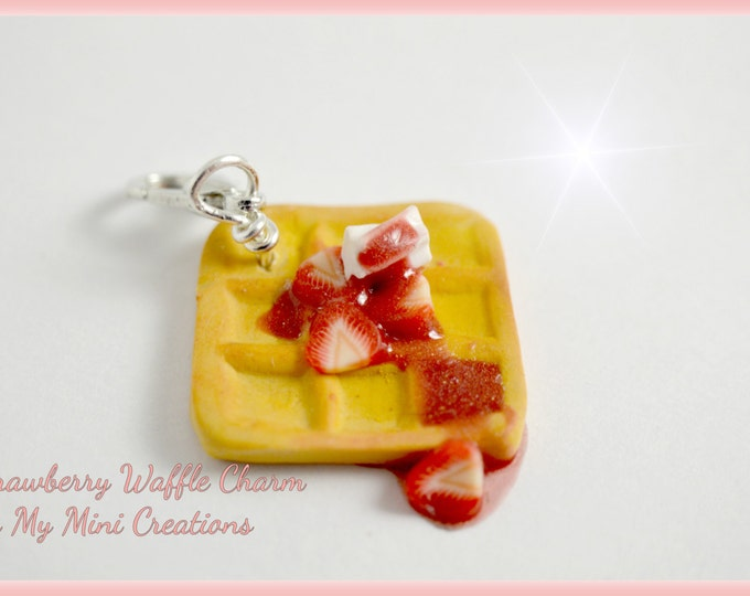 Strawberry Waffle with Cream Cheese Charm, Polymer Clay, Miniature Food, Miniature Food Jewelry