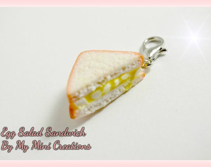 Egg Salad Sandwich Charm, Miniature Food, Miniature Food Jewelry, Food Jewelry