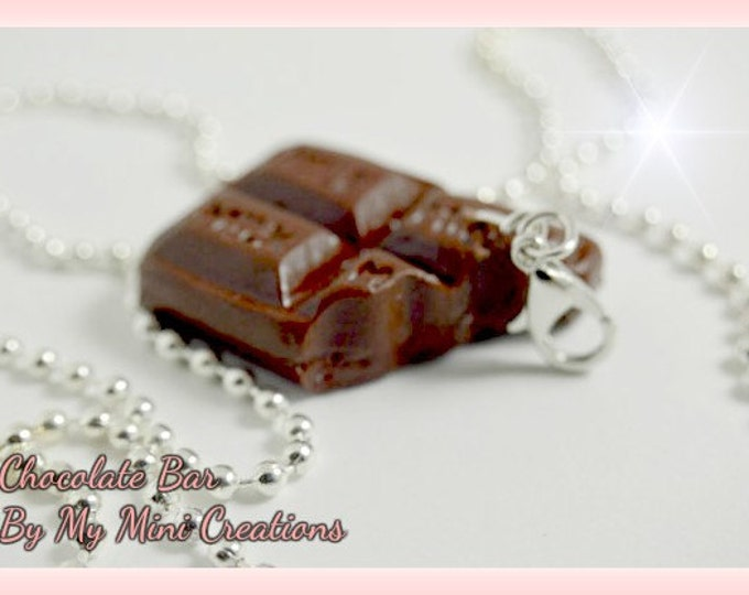 Chocolate Bar Charm Necklace, Strawberry Swirl, Polymer clay,  Miniature Food, Miniature Food Jewelry