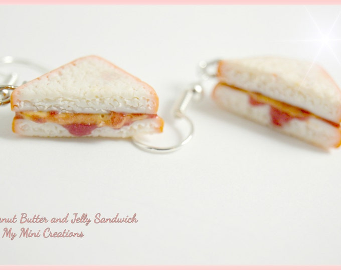 Peanut Butter & Jelly Sandwich Earrings, Miniature Food, Miniature Food Jewelry, Food Jewelry