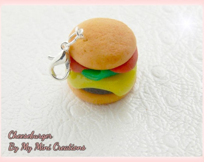 Cheeseburger Charm, Polymer Clay, Miniature Food, Miniature Food Jewelry