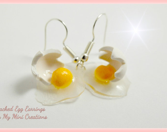 Cracked Egg Earrings, Miniature Food, Miniature Food Jewelry Polymer Clay