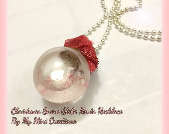 Christmas Snow Globe Mints Necklace, Miniature food, Miniature food Jewelry Polymer clay,