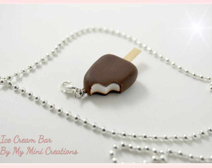 Vanilla Ice Cream Bar with Chocolate Necklace , Miniature Food, Food Jewelry, Miniature Food Jewelry, Ice Cream Charm