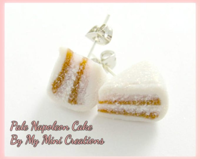 Pale Napoleon Cake,Stud Earrings, Polymer clay,  Miniature Food, Miniature Food Jewelry
