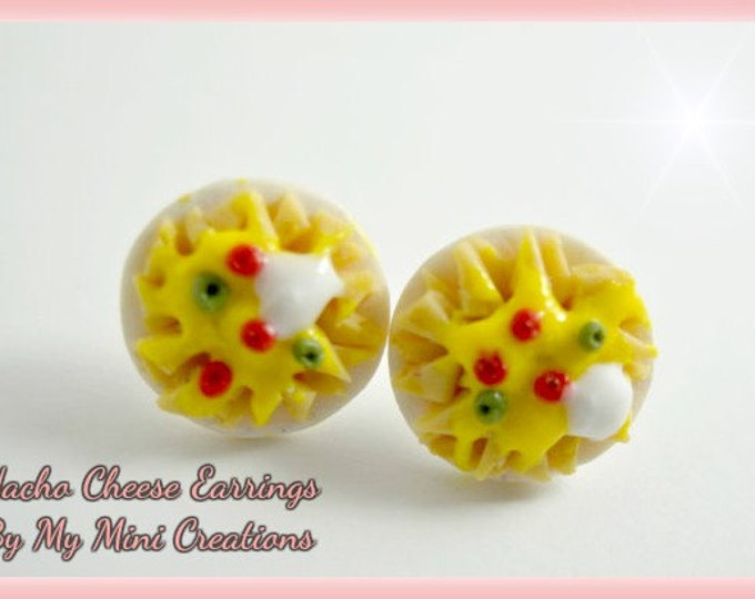 Nacho Cheese Earrings, Miniature Food, Miniature Food Jewelry, Food Jewelry