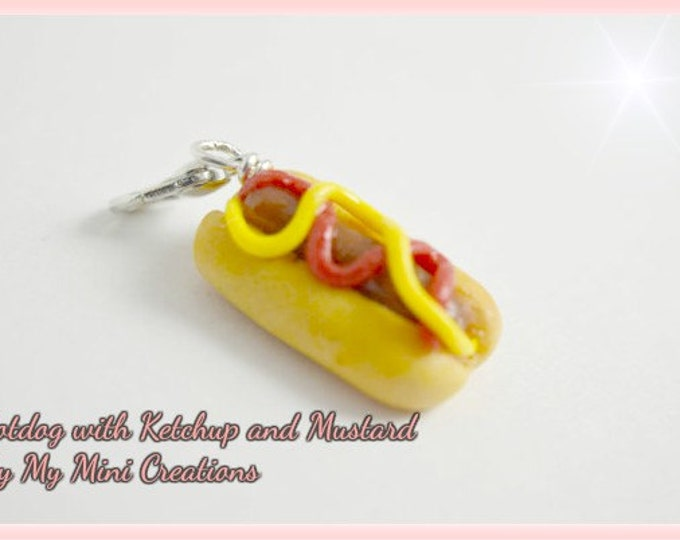 Hotdog With Ketchup And Mustard Charm , Miniature Food, Miniature Food Jewelry