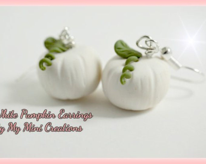 White Pumpkin Earrings,Polymer clay,  Miniature food, miniature food jewelry