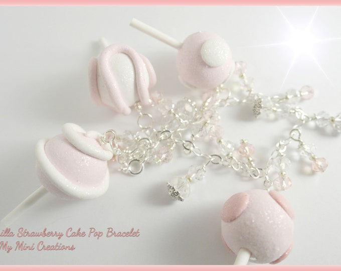 Vanilla Strawberry Cake Pop Heart Bracelet, Miniature Food Jewelry, Miniature Food. Sterling Silver