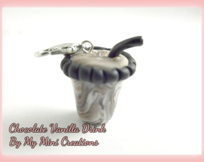 Chocolate Vanilla Drink Charm, Polymer Clay, Miniature Food, Miniature Food Jewelry