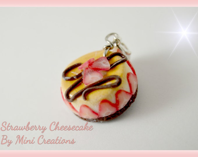 Strawberry Cheesecake Charm , Miniature food, Miniature Food Jewelry, Polymer Clay