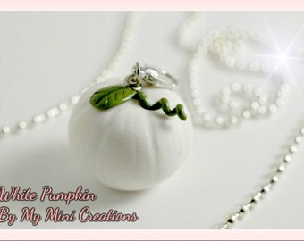 White Pumpkin Charm, Miniature Food, Miniature Food Jewelry, Food Jewelry