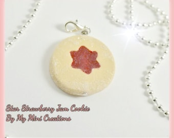 Star Strawberry Jam Cookie Necklace, Miniature food jewelry, Miniature food