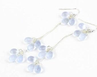 Blue Long Earrings 925 Silver Aquamarine Jewelry - Sky Blue Earrings Cluster Gift daughter - Bridal Earrings Snow Drop Anniversary Gift Sale