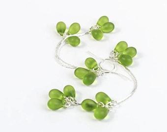 Green silver earrings dangle jewelry for wife - Elegant long earrings graduation Summer jewelry for women gift - Drop earrings bridal - Sale