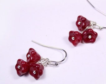 Wine chandelier blossom earrings Red mini jewelry - Drop earrings 925 silver - Maroon jewelry for daughter Burgundy Earrings gift for sister