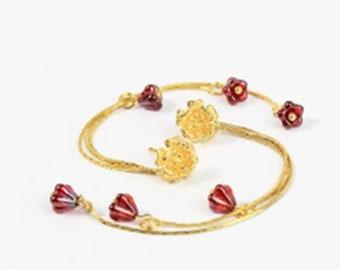 Modern Trend Earrings Long - Ruby Stud Earrings Gold - Triple Miniature Blush Pink Jewelry - Drop Earrings Bridal - Unusual Ear Gifts Under