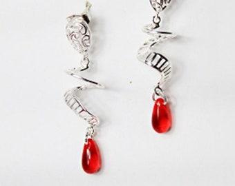 Unusual, Bright Red Studs Earrings, Silver Red Jewelry, Minimalist, Drop Earrings, Bohemian Jewelry for Wife Birthday Gift, Weird Earrings