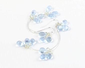 Sky blue earrings long - 925 silver cluster jewelry for wife birthday gifts -  dangle chain earrings - bridal earrings drop - Modern Unique