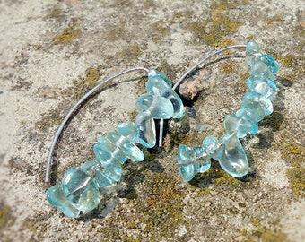 Long V Boho Earrings Aquamarine Jewelry for Her Gift - Light Blue Earrings - Dangles Statement Earrings - Summer Jewelry Sale Gift for Women
