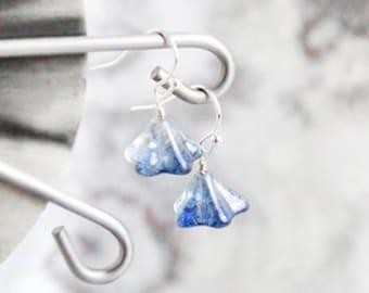 Navy Blue Earrings - Chandelier Jewelry - Gift For Her - Dark Blue Jewelry - Drop Ear Sterling Silver - Girlfriend Valentines Gift for Girl