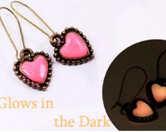 Glow Bronze Heart Earrings For Women Gifts Love Friends Elven Jewelry for Wife - Pink Earrings Christmas Gifts For Her - Cute Fairy Earrings