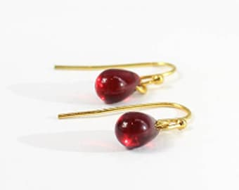 14k Gold Earrings Dangle - Ruby Jewelry Gift for Daughter - Christmas gift - Small Red Earrings - Tiny Ear Bridesmaid Earrings Gifts for her