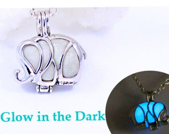 Glow Necklace for Boys Silver Elephant Necklace Brother Gifts Blue Necklace for Men Gift Boyfriend Wisdom Necklace for Dad Gifts Sale