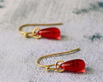 Bright Red Earrings Princess - 14 k Gold Jewelry Daughter - Gifts for Her - gold gifts for girlfriend - Mini dangle teardrop earrings gift