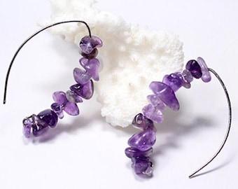 Amethyst Gemstone Earrings for Girlfriend Gifts Cluster jewelry - Purple Long Statement Silver Earrings Boho jewelry - Bold Earrings Sale