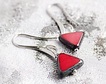 Asymmetric earrings Silver - Red Jewelry Geometrical - Unusual Earrings - Jewelry for Girlfriend - Gift for Wife - Gift Under 30, Dangle Ear
