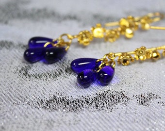 Cobalt Drop Earrings For Girlfriend Gift - Gold Blue Earrings Christmas Gifts - Deep Blue Jewelry For Wife Birthday Gifts - Elegant Earrings