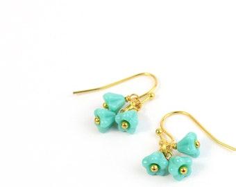 Mini Flower Turquoise Birthstone Earrings 14k Gold Jewelry - Small Petit Earrings Gifts for Grandma Gift - Mom Birthday Gift - Drop Earrings