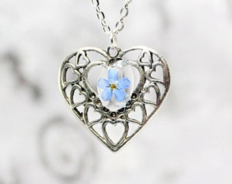 Silver heart jewelry blue forget me not gift for women romantic necklace love wife nature forget-me-not - Gift for her - Cute flower pendant