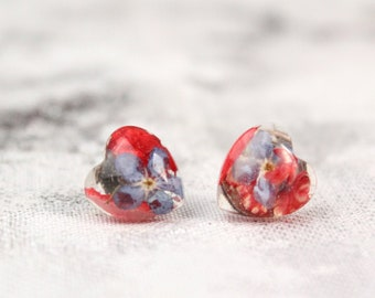 Red Blue Studs For Grandma Gift - Heart Red Jewelry for Girls Gift - Seed Jewelry Daughter Birthday Heart Gift - Niece Resin Studs Earrings