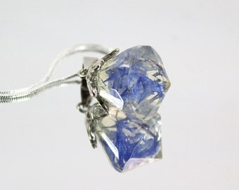 cornflower petal necklace, wildflowers terrarium, unique jewelry for women gifts, blue resin pendant, crystal jewelry natural flower present