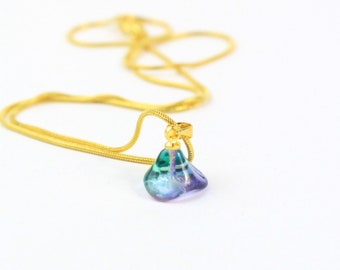 Green Purple Tender Necklace for Sister Gift Prom Jewelry Gold - Tiny Multicolor Pendant Party Flower Locket - Elegant Necklace for Princess
