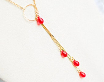 Gold Red Necklace for Girlfriend Gifts - Special Event Necklace for Friends - Statement Jewelry for Wife Gift Original Cascade Layering Long