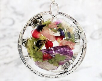 pink pendant necklace round jewelry gift for her birthday gift green purple necklace gift mom romantic pendant terrarium necklace Рю19