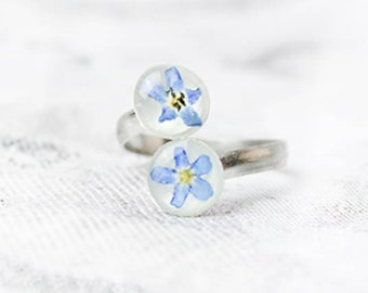 sky blue ring double ring band flower jewelry for mom statement natural flowers forget me not spiral ring gift ъ7