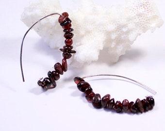 long garnet earrings cluster jewelry dark red earrings birthstone jewelry boho earrings for mother valentines gift grandma gypsy ї01