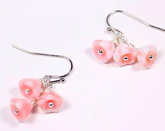 orange mix small pink earrings sterling silver flowers cute jewelry blush pink jewelry for kids bell flower earrings п62