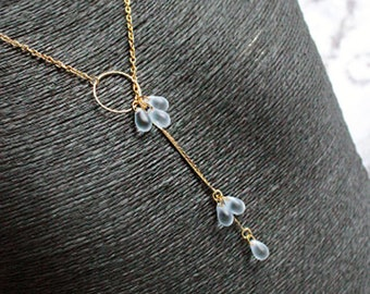 gold ring necklace light blue jewelry gift lariat necklace gold glass beads chunky bib long statement necklace gift for girlfriend д3