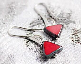 asymmetric earrings silver red jewelry geometrical unusual earrings statement jewelry gift girlfriend valentines пя94