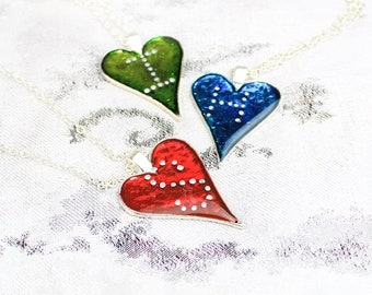 Personalized Necklace for Wife Birthday Gift - Red Blue Heart Jewelry - Green Heart Initial Necklace - Custom Letter Jewelry for Mom Gift 45