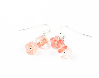 Peach Clear Small Floral Earrings Simple Jewelry - Mini Drop Earrings Sterling Silver - Dangle Everyday Earrings Pink Jewelry Birthday Gift